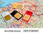 Small photo of many sim cards with the europe map on background