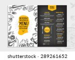 restaurant cafe menu  template... | Shutterstock .eps vector #289261652