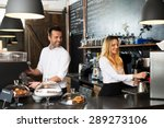 two baristas preparing coffee...   Shutterstock . vector #289273106