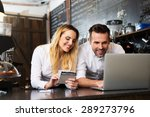 two happy cafe managers working ... | Shutterstock . vector #289273796