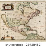 old world map  America Septentrio Nalis, probably dates around early 1600's, showing north america - stock photo