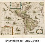 America map dated 1631 showing north and south america - stock photo