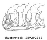 industrial sketch of nuclear... | Shutterstock .eps vector #289292966