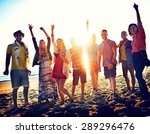 teenagers friends beach party... | Shutterstock . vector #289296476