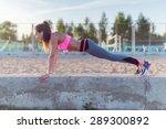 fitness woman doing push ups... | Shutterstock . vector #289300892