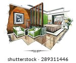 vector interior sketch design.... | Shutterstock .eps vector #289311446