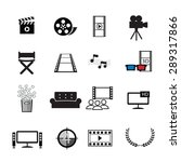 movies cinema icons set vector  | Shutterstock .eps vector #289317866