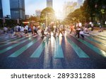 busy city people crowd on zebra ... | Shutterstock . vector #289331288