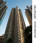 Hong Kong's enormous population has lead to the creation of hundreds of high rise apartments - stock photo