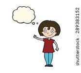 cartoon happy woman pointing... | Shutterstock . vector #289383152