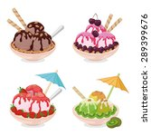 set cups with ice cream ... | Shutterstock .eps vector #289399676