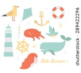 Summer And Sea Icons Set...