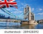 London Tower Bridge With Flag...