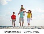 happy family in casualwear... | Shutterstock . vector #289434902