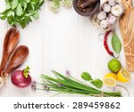 fresh herbs and spices on... | Shutterstock . vector #289459862