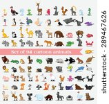 set of 94 cute cartoon animals | Shutterstock .eps vector #289467626