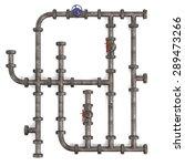 3d Render Of Industrial Pipes