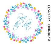 watercolor floral vector wreath.... | Shutterstock .eps vector #289479755