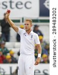 Small photo of CHESTER LE STREET, ENGLAND - August 12 2013: Stuart Broad raises the ball to acknowledge the crowd after taking 5 wickets during day four of the Investec Ashes 4th test match