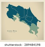 Modern Map   Costa Rica With...