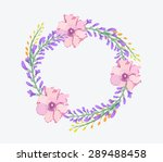 watercolor flowers frame... | Shutterstock . vector #289488458