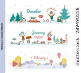 set of three monthly seasonally ... | Shutterstock .eps vector #289490228