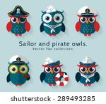 Stock vector ahoy set of sailor captain and pirate owls for sea and nautical design funny icons isolated on 289493285