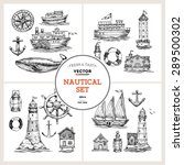 engraved nautical elements. sea ... | Shutterstock .eps vector #289500302