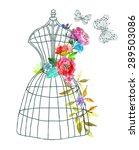 doodle mannequin with... | Shutterstock .eps vector #289503086
