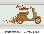 vintage scooter with a trail of ... | Shutterstock .eps vector #289521266