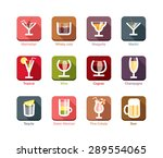 12 modern flat cocktails and... | Shutterstock .eps vector #289554065