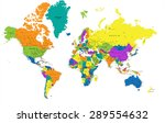 colorful world political map... | Shutterstock .eps vector #289554632