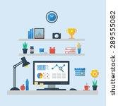 flat design of modern office... | Shutterstock .eps vector #289555082