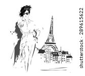 fashion girl in sketch style.... | Shutterstock .eps vector #289615622