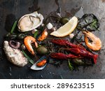delicious fresh seafood on dark ... | Shutterstock . vector #289623515