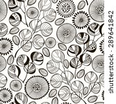 Seamless pattern with abstract branches and flowers. Black and white hand-drawn floral background.