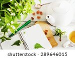 nettle tea. kettle  notebook ... | Shutterstock . vector #289646015