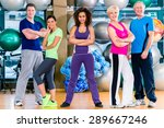 Diversity Fitness Group In Gym...