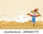 Farm Landscape With Cartoon...