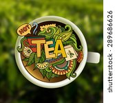 tea hand lettering and doodles... | Shutterstock .eps vector #289686626