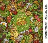 fast food doodles elements... | Shutterstock .eps vector #289687136