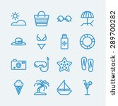beach summer holiday line icons.... | Shutterstock .eps vector #289700282