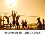 Silhouette Of Beach Volleyball...