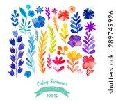 vector watercolor flowers...   Shutterstock .eps vector #289749926