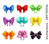 set of cute colorful bows ...