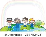 pupils holing hand with blank... | Shutterstock .eps vector #289752425