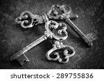 Four Vintage Keys. Retro Aged...
