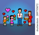 happy fathers day pixel art... | Shutterstock .eps vector #289755872