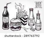 fast food set vintage linear... | Shutterstock .eps vector #289763792