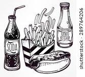 fast food set vintage linear... | Shutterstock .eps vector #289764206